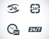 Vector black 24 hours icons set Royalty Free Stock Images