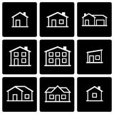 Vector black house icon set Stock Photos