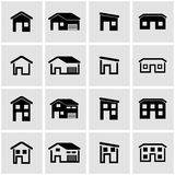 Vector black house icon set Royalty Free Stock Image