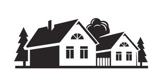 Vector black house Royalty Free Stock Image