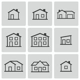 Vector black houses icons set Royalty Free Stock Image
