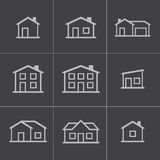 Vector black houses icons set Stock Photos