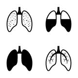 Vector black human lung icons set Royalty Free Stock Images