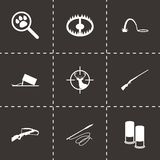 Vector black hunting icons set. On black background Royalty Free Stock Photos