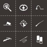 Vector black hunting icons set Royalty Free Stock Photos