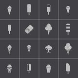 Vector black ice cream icons set Royalty Free Stock Images