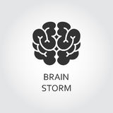 Vector black icon brain in flat style. Brainstorm concept logo. Shape simplicity icon of brain drawn in flat style. Brainstorm concept. Black silhouette logo Stock Images