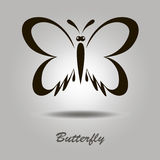 Vector black icon with butterfly. On a gray background with shadow and the inscription Royalty Free Stock Photos