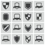 Vector black icon shield icons Royalty Free Stock Photos