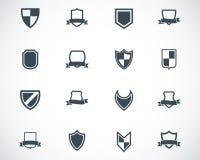 Vector black icon shield icons. Set stock illustration