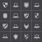 Vector black icon shield icons set Royalty Free Stock Photo