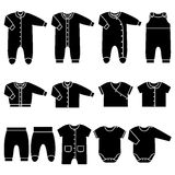 Vector black icons of baby clothes. Icon set children`s clothes for newborn baby girl or boy. Overalls, shirt, rompers, pants and baby`s loose jacket Royalty Free Stock Image