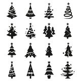 Vector black icons of christmas tree royalty free illustration