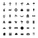 Vector black icons of tourism and travel. Royalty Free Stock Photography
