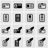 Vector black id card icon set Stock Image