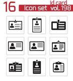 Vector black id card icons set Royalty Free Stock Photography