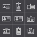 Vector black id card icons set Stock Image
