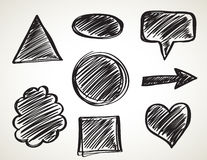 Vector Black ink art brushes set. Grunge paint strokes Stock Photo