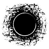 Vector black ink blot with brush strokes and round frame with space for text Stock Photo