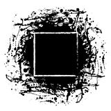 Vector black ink blot with brush strokes and square frame with space for text Royalty Free Stock Photography