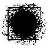 Vector black ink blot with brush strokes and square frame with space for text Stock Image