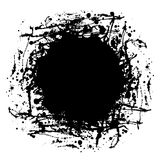 Vector black ink blot with brush strokes,  on the white background. Graphic illustration. Series of elements for design, splash, blots and brush strokes Royalty Free Stock Photo