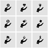 Vector black insurance hand icon set Royalty Free Stock Images