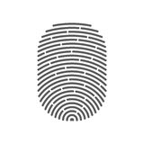 Vector black isolated fingerprint. On white background Stock Images