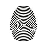 Vector black isolated fingerprint on white background. Vector  black isolated fingerprint on white background Royalty Free Stock Photos