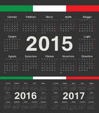 Vector black Italian circle calendars 2015, 2016, 2017. Week starts from Monday Royalty Free Stock Images