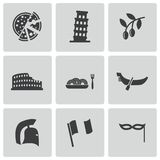 Vector black italian icons set Stock Images