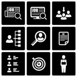 Vector black job search icon set Stock Photography