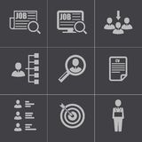 Vector black job search icons set Royalty Free Stock Photos
