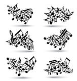 Vector black jolly staves with musical notes Royalty Free Stock Photography