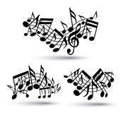Vector black jolly wavy staves with musical notes on white backg Stock Photo
