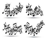 Vector black jolly wavy staves with musical notes on white backg Stock Photography