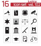 Vector black justice icons Royalty Free Stock Photos
