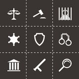 Vector black justice icons set. On black background Royalty Free Stock Photo