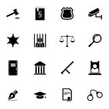 Vector black justice icons set Royalty Free Stock Photography