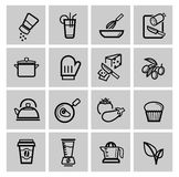 Vector black kitchen icons set Stock Photos
