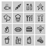 Vector black kitchen icons set Stock Photography