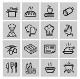 Vector black kitchen icons set Royalty Free Stock Photography