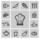 Vector black kitchen icons set Royalty Free Stock Photos