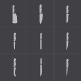 Vector black kitchen knife icons set Stock Image