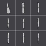 Vector black kitchen knife icons set Stock Image