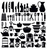 Kitchen tool. Vector black kitchen tool icons set on white Stock Photo