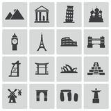 Vector black landmark icons set Royalty Free Stock Photography