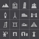 Vector black landmark icons set Royalty Free Stock Image