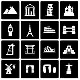 Vector black landmarks icon set Royalty Free Stock Photography