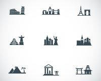 Vector black landmarks icons set Royalty Free Stock Photography